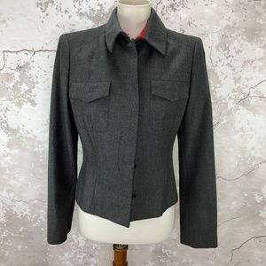 Valentino Military Gray Wool Short Jacket Size 44